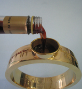 wedding ring with wine